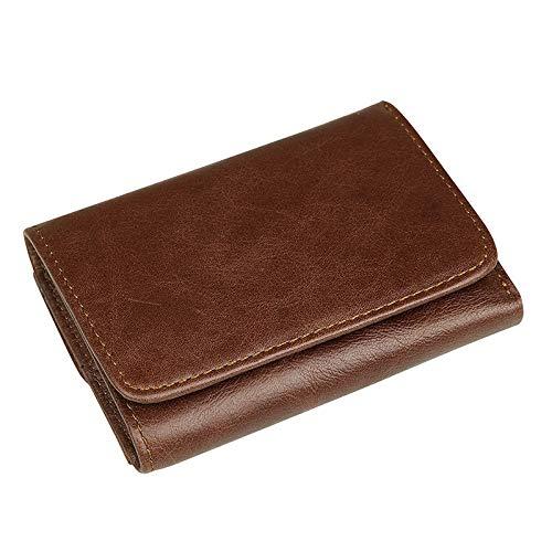 WENQU - Cartera para hombre con barrera RFID, piel curvada, diseño de hebilla, tarjetero, cartera para hombre (color: café profundo)
