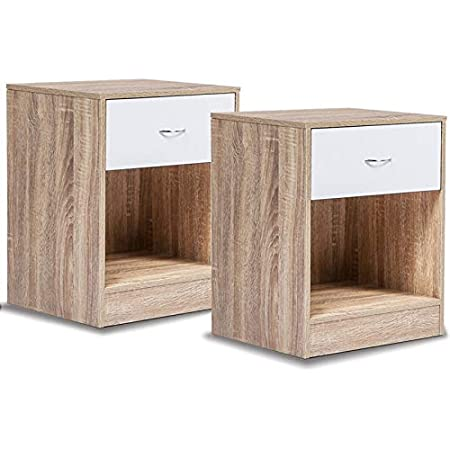 IDMarket - Lot de 2 Tables de Chevet Bois Olga façon hêtre tiroir Blanc