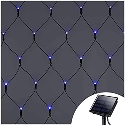 Solar Net Mesh String Lights Outdoor Waterproof,9.8ft x 6.6ft 200 LEDs Tree-wrap Lights,Dark Green Cable,8 Modes Decorative Lights for Party Christmas Wedding Garden Home Patio Lawn