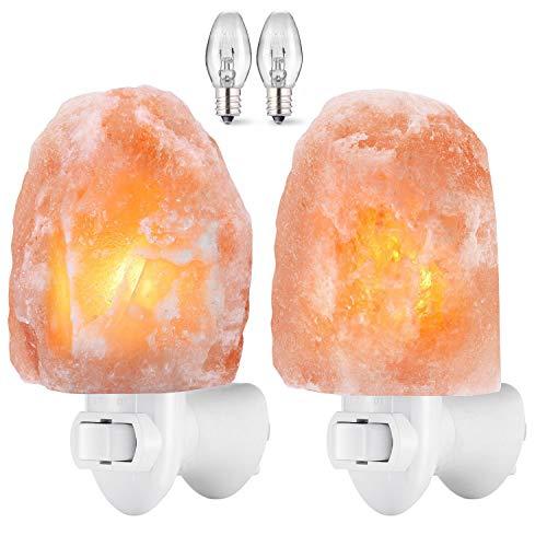AMIR (Upgraded) Salt Lamp, Natural Himalayan Crystal Salt Light with 4 Bulbs, 11.2oz Mini Hand...