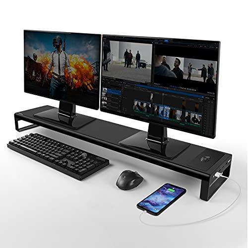 Vardeer Dual Monitor Stand Riser mit kabelloser Aufladung und 4 USB 3.0 Hub Aluminium Monitorständer für 2 Monitore, Metall Monitor Ständer -Unterstützt bis zu 32 Zoll für Computer, Laptop - Schwarz