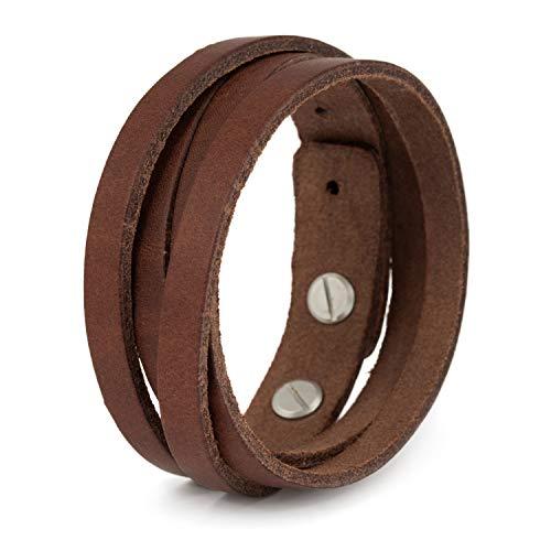 SIMARU Lederarmband Herren aus Premium Leder Made in Germany, Männer Armband größenverstellbar in schwarz, braun oder hellbraun (hellbraun)