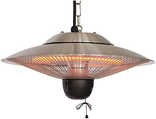 KAUTO Calefacción de Patio eléctrica Soporte de Techo suspendido calefacción halógena para Uso en Exteriores o Interiores Calefacción de Techo Impermeable (Color: Interruptor de Cuerda de 1500 W)