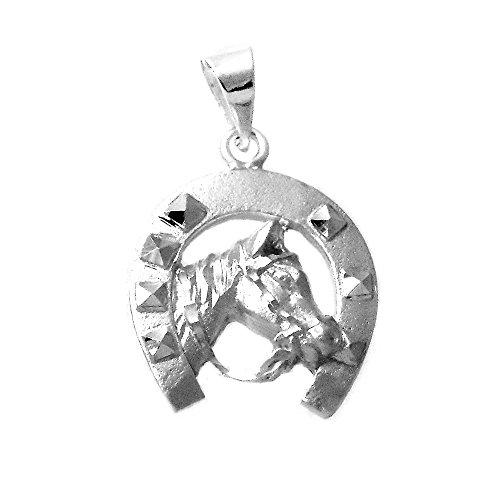 Colgante plata Ley 925m unisex 25mm. herradura amuleto suerte caballo mate detalles tallados brillo