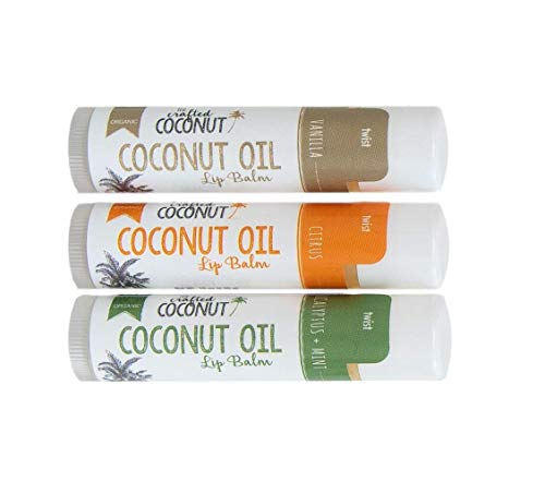 Organic Coconut Oil Lip Balm by The Crafted Coconut | Blended with Coconut Oil, Beeswax and Vitamin E | Eucalyptus Mint, Vanilla, Citrus | 3 Tubes in a Pack