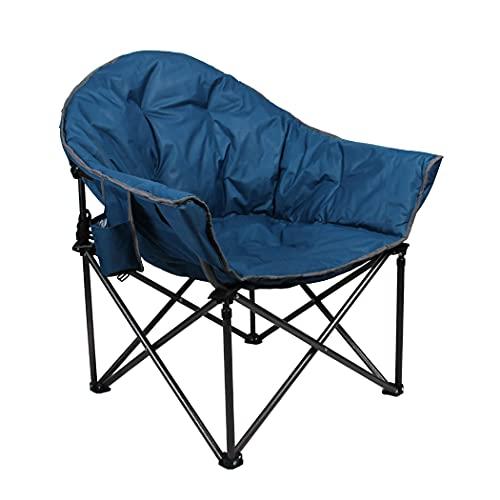 ALPHA CAMP Gepolsterter Faltbarer Campingstuhl Klappstuhl Rund Moon Chair mit Becherhalter, Campingsessel mit Tragetasche, Ideal für Outdoor Indoor Balkon Wohnzimmer Büro, bis 160kg, Dunkelblau