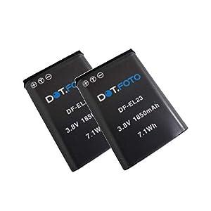 2 x Dot.Foto EN-EL23 Premium Dot.Foto Batería de Reemplazo - 3.8V/1850mAh - Nikon Coolpix B700, P600, P610, P900, S810c