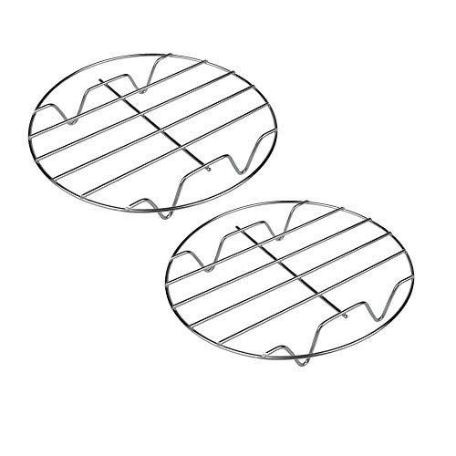 Kocherregal, rund, 304 Edelstahl, zum Backen und Kühlen von Dampfgarern, Drahtständer, Kochgeschirr, geeignet für Luftfrittiere, Sofort-Topf-Pres Silver2