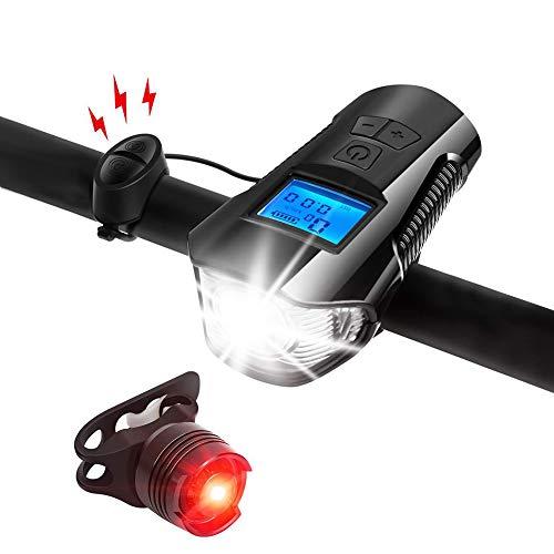 Fahrradlicht-Set, Fahrradbeleuchtung mit Fahrradtacho, Kilometerzähler, USB wiederaufladbares Fahrrad-Rücklicht und Frontlicht-Set, IPX5 wasserdichte Scheinwerfer, passend für alle Fahrräder