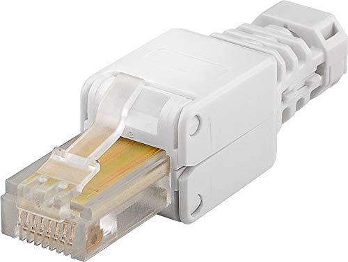 1 conector RJ45 sin herramientas Cat 5e UTP sin apantallamiento para 3 cables diferentes de diámetro: hasta 5,2/6,4/7,5 mm.