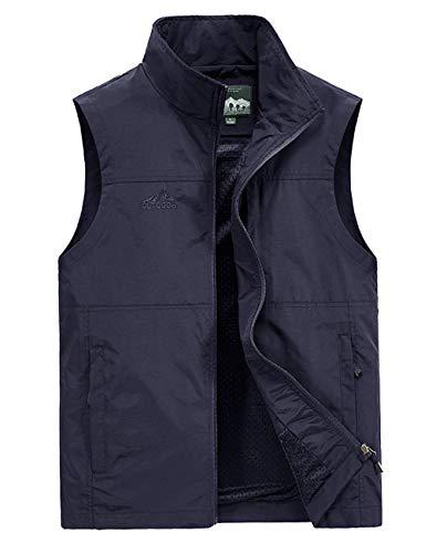 Hixiaohe Men's Causal Lightweight Outdoor Vest Fishing Travel Photo Safari Vest(Navy,XL)
