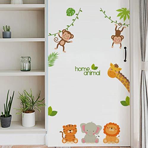 Pegatinas de pared de animales calcomanías de mono lindo pegatinas de decoración de habitación de niños pegatinas de puerta de casa decoración del hogar