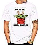 Sartamke Yoda Best Merry Christmas Camiseta Cuello Redondo Hombre Large
