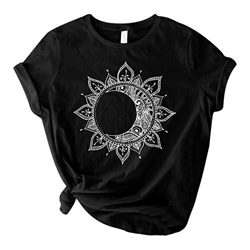 Shirt Damen Tshirts Sonne Mond Grafik Frauen Sommer Sport lustige Print Oberteile Tunika Teenager Mädchen Rundhals Casual Kurzarm Vintage Shirts Beiläufig Tops Frauen Blusen Lässig T-Shirt