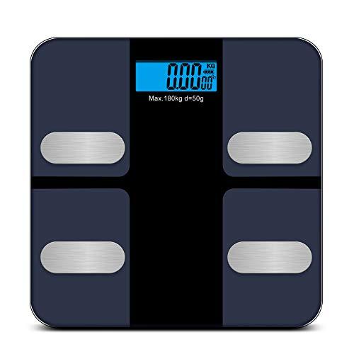 Redkey Body Bluetooth Fat Scale con pantalla LCD, peso máximo 180 kg. Puede monitor 18 datos de reseña en forma tal como la grasa corporal el IMC el peso y el músculo esqueleto, negro