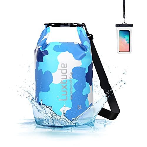Luxtude Waterproof Dry Bag Backpack, 5L Roll Top Portable Dry Sack Waterproof Bag with Phone Case,...