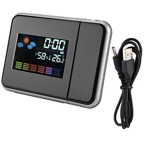 ZHHZ Wecker, digitaler LED-Wecker mit USB-Ladeanschluss, Projektionswecker mit Wettervorhersage Projekt Luftfeuchtigkeitskalender für Schlafzimmer und Büro (schwarz)