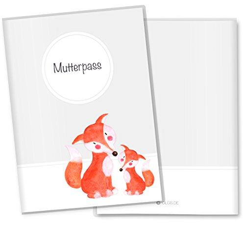 Mutterpasshülle 3-teilig Motiv Waldtiere Mutterpass Hülle Schwangerschaft Geschenkidee (Mutterpass ohne Personalisierung, Fuchs)