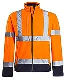 Shelikes Hi Vis Viz Visibility Two Tone Zipped Zip Softsheel Light Weight Fleece Zip Jacket Size[ORANGE/NAVY, M]
