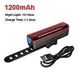 Bicycle Light Set USB Rechargeable LED Flashlight Waterproof with Rear Lights,USB Tail Light