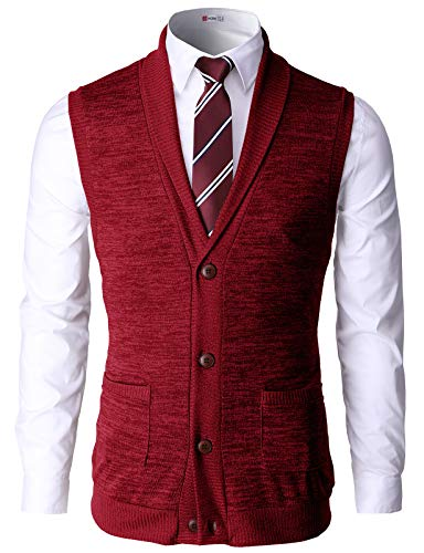 H2H Mens Dress Basic Shawl Collar Knitted Slim Fit Vest RED US L/Asia XL (CMOV034)