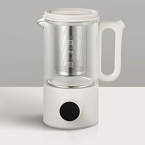 Christmas, Electric Kettle 0.4L Glass Tea Kettle with Variable Presets, One Touch Tea Maker, 500W, Tea Infuser & Bottom, Auto Shut Off & Boil Dry Protection, BPA Free/White
