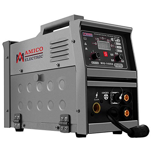 Amico MIG-140GS, 140-Amp MIG/MAG/Flux-cored/Lift-TIG/Stick Arc DC Inverter Welder, 115/230V Dual Voltage Welding, Compatible Spool Gun: SPG15180 & SPG15250