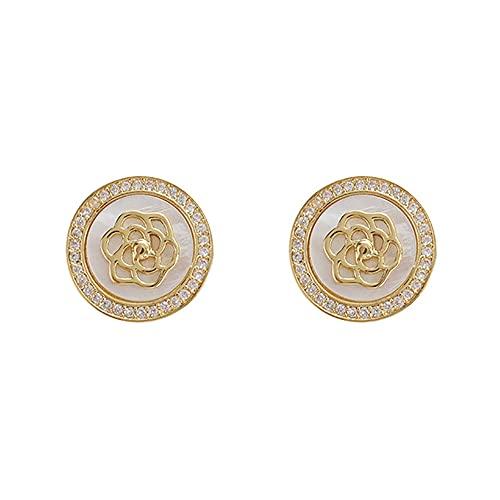 HUHAN Camellia Earrings Geometric Round Rhinestone Camellias Studs Earrings Sweet Girl Temperament Earring Studs for Woman