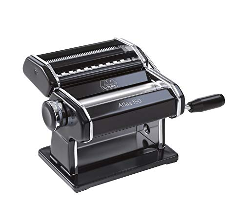 Marcato Atlas Pasta Machine, Made in Italy, Black, Includes Pasta Cutter, Hand Crank, and...