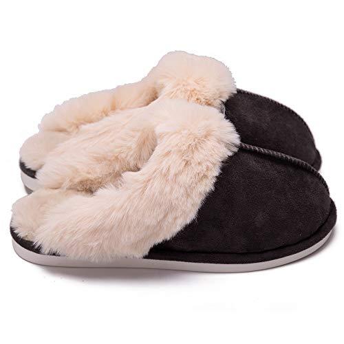 QWEEF Scarpe da Casa Spettacolo Pantofole Antiscivolo Confortevole Suede Memory Foam Creativo Uomo Morbido Antiscivolo per Interni ed Esterni (Color : Gray, Dimensione : XL)