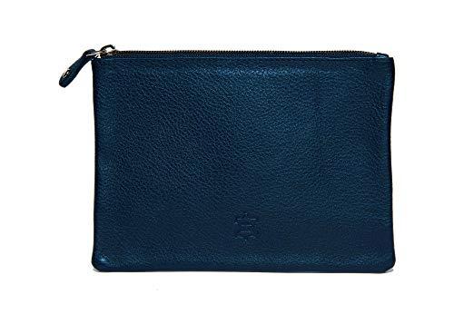 Wildery® kleine Kosmetiktasche Schminktasche aus echt Leder Make Up Tasche mit Reißverschluss /#WI707 (Blau)