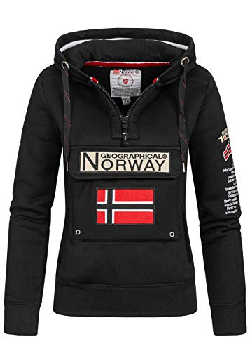 Geographical Norway Damen Hoodie Gymclass Sweater Zip-Kragen Brusttasche Stickerei Kängurutaschen, schwarz, Gr:L