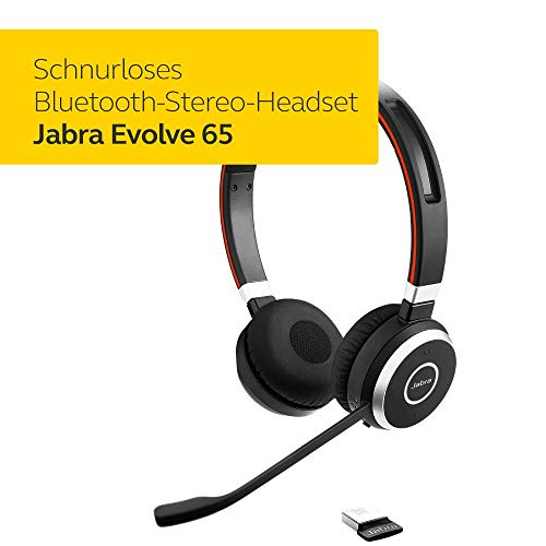 Jabra Evolve 65 Wireless Stereo On-Ear Headset - Unified Communications zertifizierte Kopfhörer mit langer Akkulaufzeit - USB Bluetooth Adapter - Schwarz
