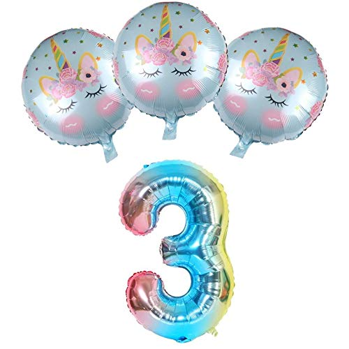 DIWULI, ballonset, XXL-nummerballon nummer 3 + 3 stuks eenhoorn ballonnen blauw voor 3de verjaardag, bruiloft, mottofeest, decoratie, eenhoorn folieballonnen, folieballonnen, nummer ballon