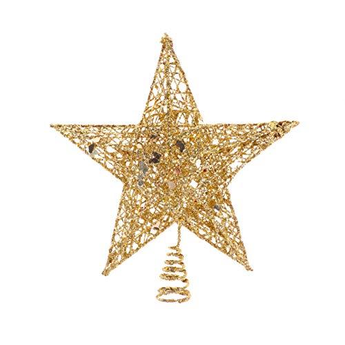 VOSAREA Metall Weihnachtsbaumspitze Golden Glitzer Christbaumspitze Baumspitze Baumschmuck Spitze Weihnachtsbaum Stern Weihnachtsstern Tischdeko für Weihnachten Deko