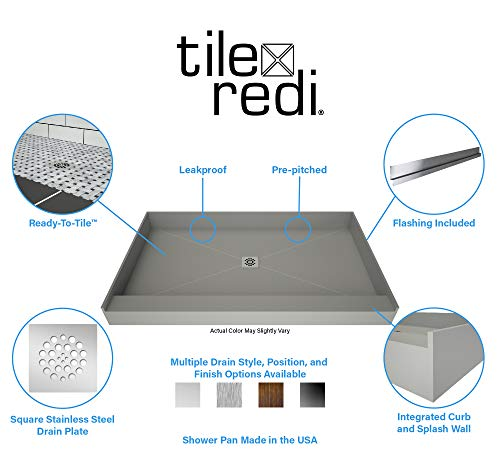 "Tile Redi P3248C-SCSQOVZ Redi Base Shower Pan, 48"" W x 32"" D with Flashing, Oil Rubbed Bronze"