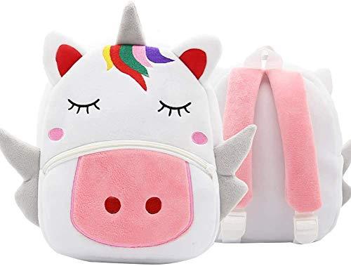BETOY Unicornio Mochila para Niña, Pequeño Mochilas Infantil Linda Mochilas para Guardería Animales 3D Suave Mochila de Felpa para Bebe