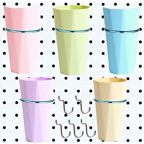 Juego de 5 cubos de cartón con anillos y 5 ganchos de pegboard, accesorios para organizar el almacenamiento