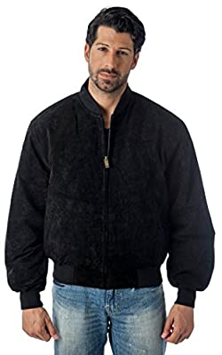 REED Men's Baseball Suede Leather Jacket (Imported) (Medium, Black) from REED