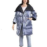 ダウンコート レディース 冬 ラペル 光沢のある ミドル丈 コート