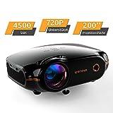 Mini Beamer Full HD Video Projektor, Crenova Portable Beamer mit 200' Bildgröße unterstützt 1080P, 4500 Lumen kompatibel mit Handy/TV Stick/PC/Xbox/Filme/Spiele mit kostenlosem HDMI-Kabel,Schwarz