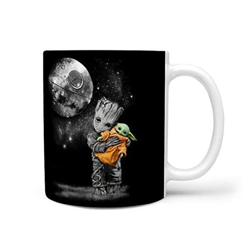 KittyliNO5 Baby Groot umarmt Porzellan Kaffeetasse Tasse Becher Modische Trinkbecher Geschenkidee für Bruder Schwester White 330ml