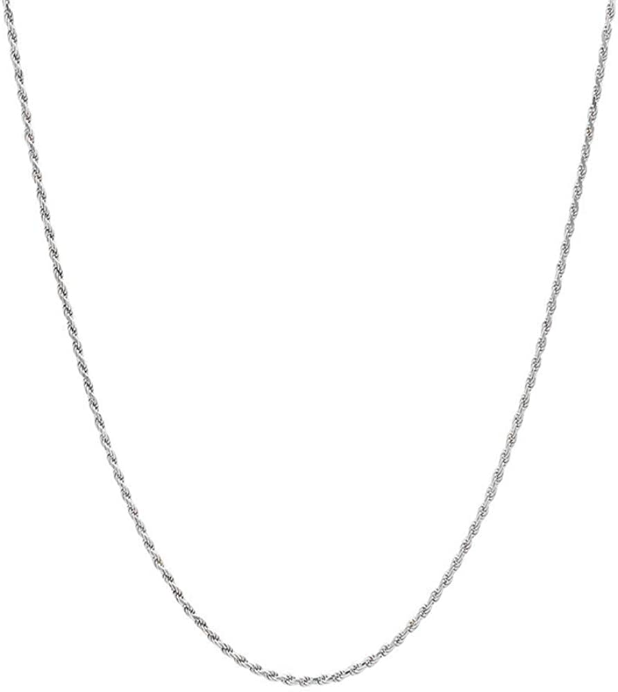 Verona Jewelers OFFicial site discount 925 Sterling Silver Rope Diamond-Cut Solid Chain