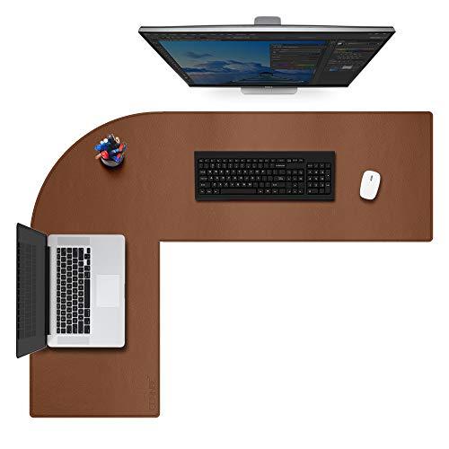 99/5000 Alfombrilla de Escritorio Grande de Cuero en Forma de L - Accesorios de Oficina en casa Alfombrilla de Escritorio de Esquina - (120 + 140) x 40 cm, marrón