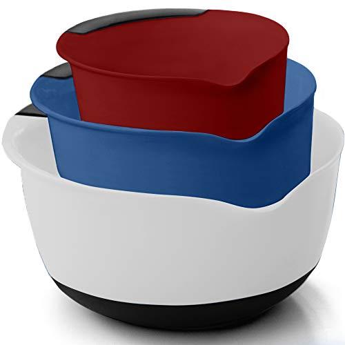 Gorilla Grip Original Mixing Bowls Set of 3, Slip Resistant Bottom, Includes 5 Qt, 3, and 1.5 Quart Nested Bowl, Dishwasher Safe, Grip Handle for Easy Mix, Pour Spout, Baking 3 Piece, White Blue Red