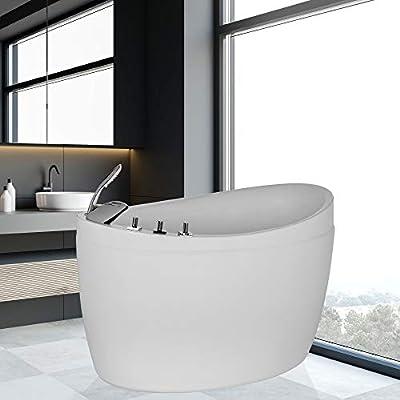 "Empava 48"" Made in USA Luxury Modern Bathroom Soaking SPA Massage Hot Whirlpool Tub Freestanding Jacuzzi Bathtub"