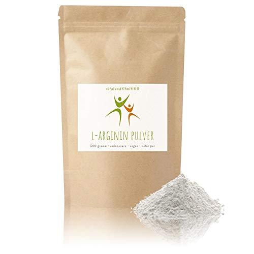 L-Arginin Base Pulver - 500g - nicht-essentielle Aminosäure - pflanzl. Ursprung, gewonnen durch Fermentation - 100% vegan - Reinsubstanz - glutenfrei - laktosefrei - OHNE Hilfs- u. Zusatzstoffe