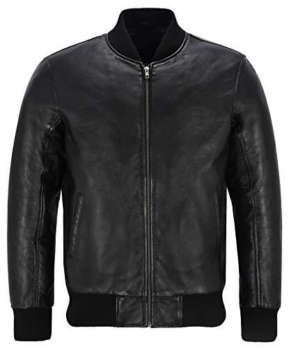 Smart Range Leather Co Ltd. Herren 70er Jahre Bomber Lederjacke schwarz Street inspiriert Retro echte Lammfell 275-P (M)