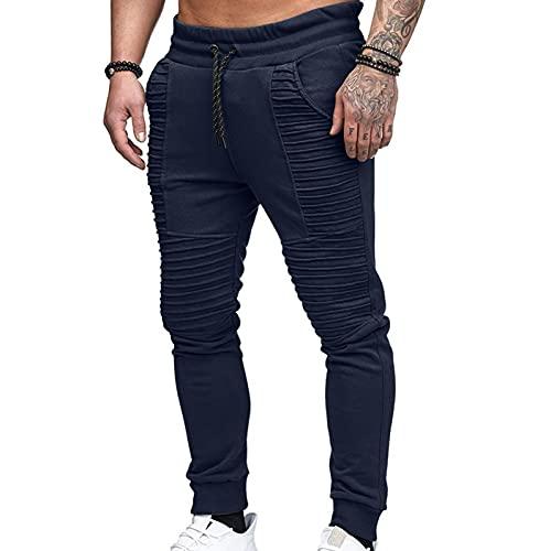 Vexiangni Pantalones largos de chándal para hombre, plisados, de algodón, para el tiempo libre, para la playa, para el verano, para hombre, con cintura media, sueltos, con cordón, Marine E., L