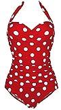 1950s Retro Red Vintage One Piece Monokini White Polka Swimsuits Swimwear 2XL(US10)